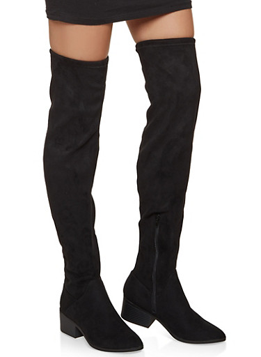 Scrunched Over the Knee Boots - BLACK SUEDE - 1116027616723