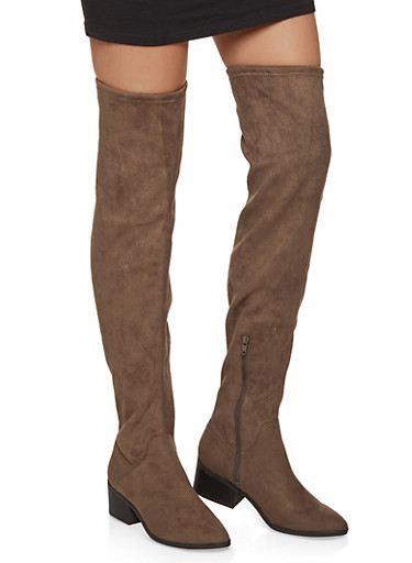 Scrunched Over the Knee Boots,TAUPE,large