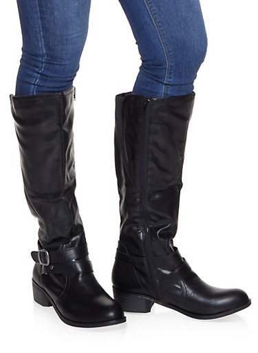Buckle Detail Riding Boots,BLACK,large