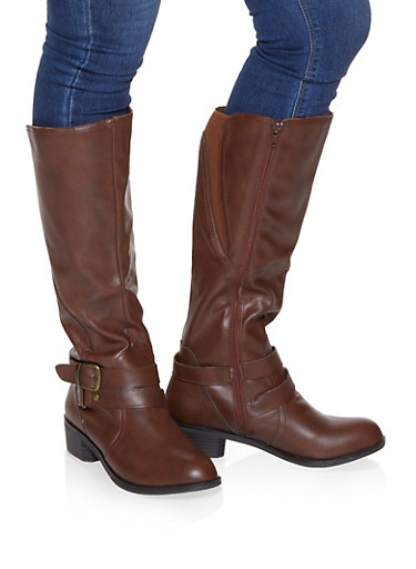 Buckle Detail Riding Boots,CHESTNUT,large