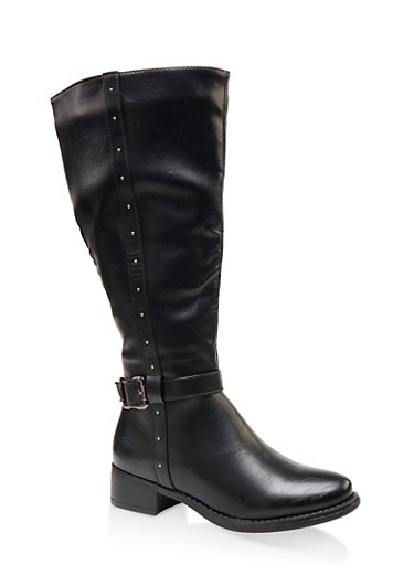 Studded Tall Wide Calf Riding Boots,BLACK,large