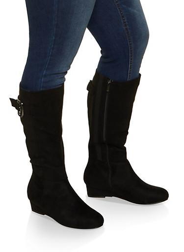 Wedge Heel Wide Calf Boots,BLACK,large