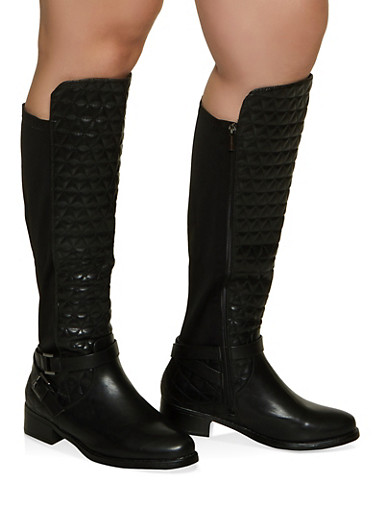 Stretch Panel Quilted Tall Wide Calf Boots,BLACK,large