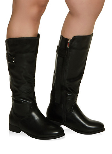 Side Zip Tall Wide Calf Boots,BLACK,large