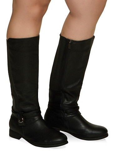 Gore Detail Tall Wide Calf Boots,BLACK,large