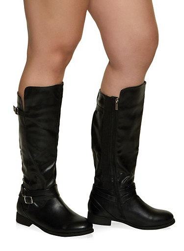 Buckle Strap Detail Wide Calf Boots,BLACK,large