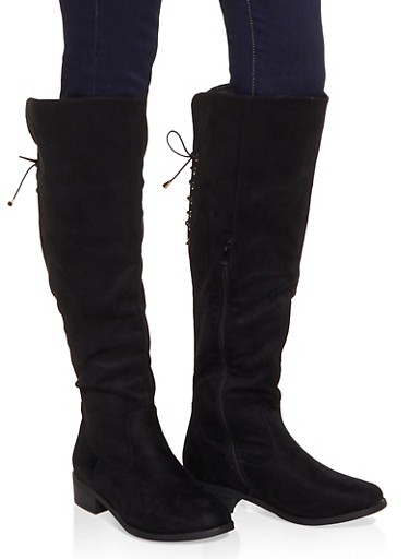 Knee High Lace Up Back Boots,BLACK SUEDE,large