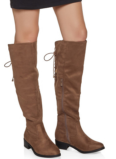 Knee High Lace Up Back Boots,TAUPE,large