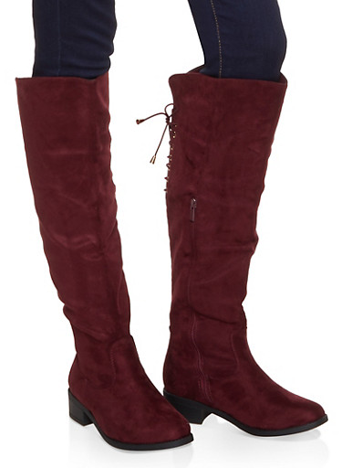 Knee High Lace Up Back Boots,BURGUNDY,large