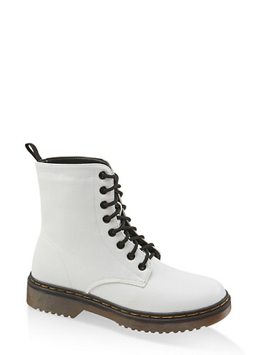Lace Up Combat Boots,WHITE,large