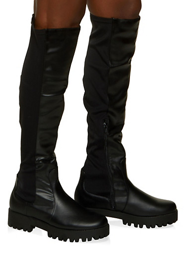 Stretch Over the Knee Boots,BLACK,large