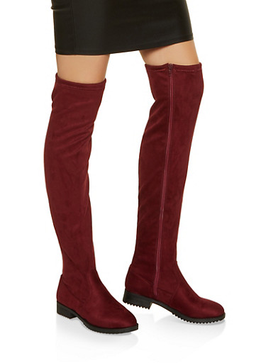 Over the Knee Boots,BURGUNDY,large