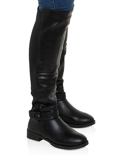Buckle Detail Stretch Back Tall Boots,BLACK,large