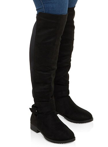 Buckle Detail Stretch Back Tall Boots,BLACK SUEDE,large
