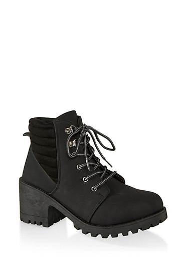 Lace Up Lug Sole Mid Heel Booties,BLACK,large