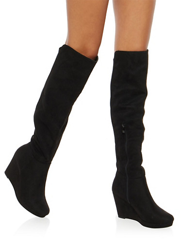 Faux Suede Over the Knee Wedge Boots,BLACK F/S,large
