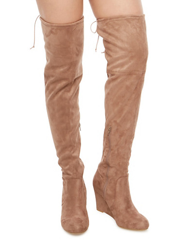 Stretch Over the Knee Wedge Boots,MINK F/S,large