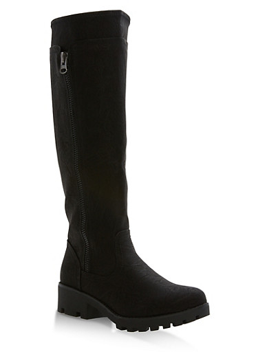 Faux Leather Tall Riding Boots,BLACK,large