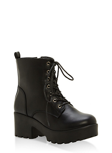 Lace Up Lug Sole Booties,BLACK SMOOTH PU,large