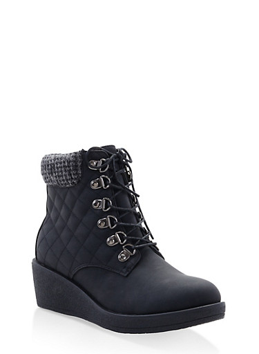 Quilted Knit Cuff Wedge Booties,BLACK,large