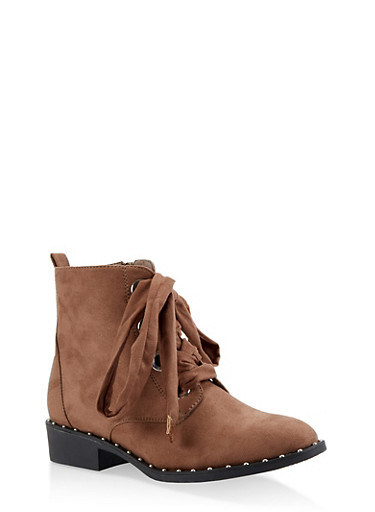 Studded Sole Lace Up Booties,TAN,large