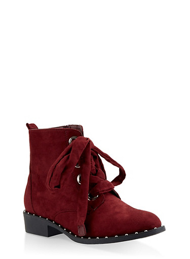 Studded Sole Lace Up Booties,WINE,large