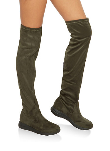 Rubber Sole Over the Knee Boots,OLIVE F/S,large