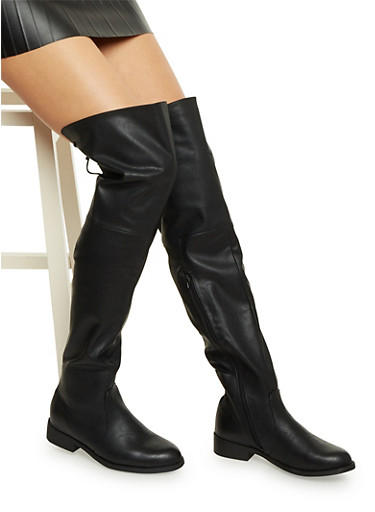 Faux Leather Over-the-Knee Boots with Lace Cinch,BLACK,large