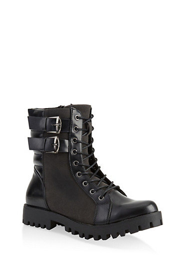 Two Buckle Quilted Combat Boots,BLACK PATENT,large