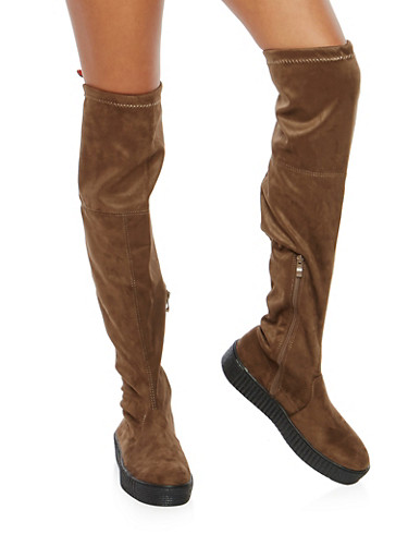 Creeper Sole Over the Knee Boots | Tuggl
