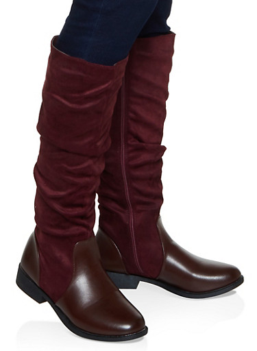 Tall Ruched Faux Suede Boots,BURGUNDY,large