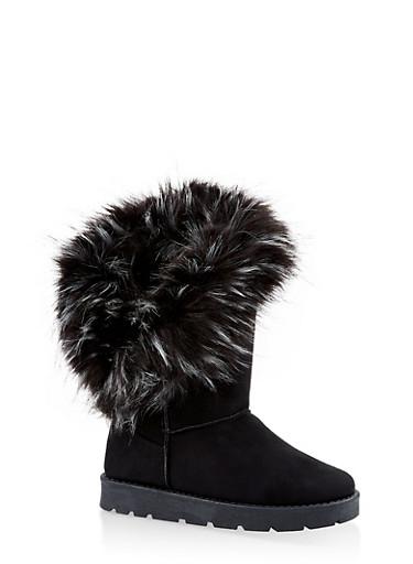Faux Fur Cuff Boots,BLACK SUEDE,large