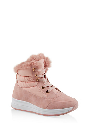 Faux Fur Lined Booties,PINK,large