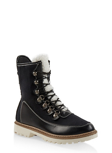 Lace Up Lug Sole Boots,BLACK,large