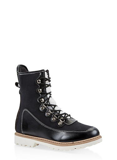 Lace Up Boots,BLACK,large