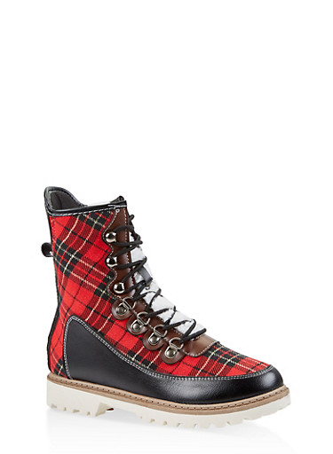 Lace Up Boots,RED,large