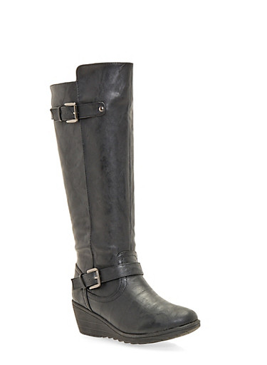 Wedge Boots with Buckle Straps,BLACK,large