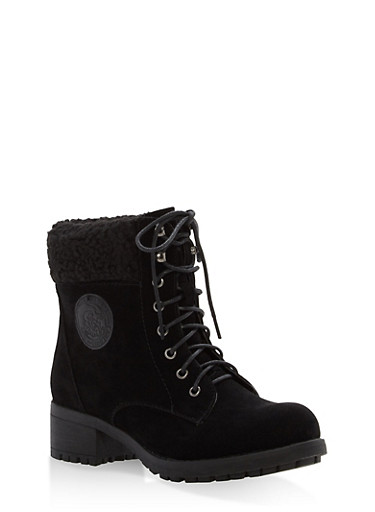 Sherpa Cuffed Lace Up Booties,BLACK,large