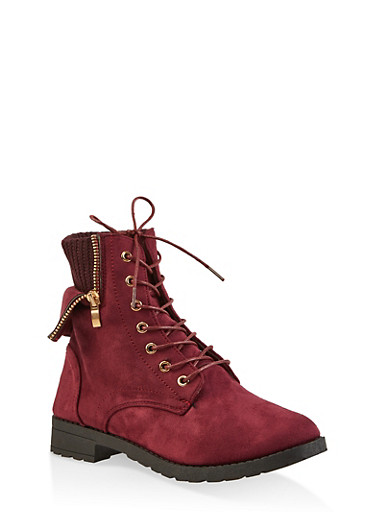 Knit Cuff Lace Up Booties,WINE,large