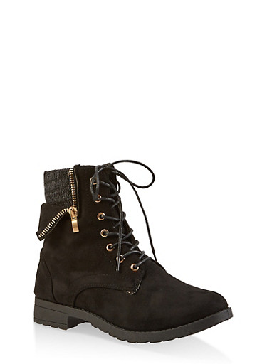 Knit Cuff Lace Up Booties,BLACK SUEDE,large