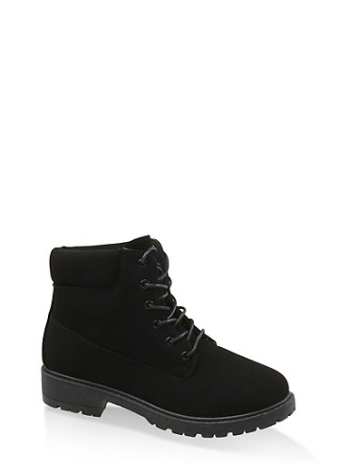 Solid Lace Up Work Boots,BLACK,large
