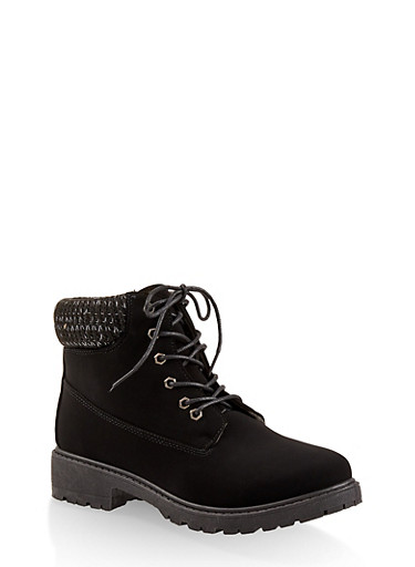 Knit Cuff Lace Up Work Boots,BLACK,large