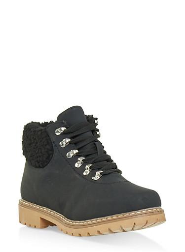 Sherpa Cuff Work Boots,BLACK,large