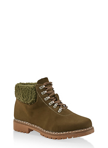 Sherpa Cuff Work Boots,OLIVE,large