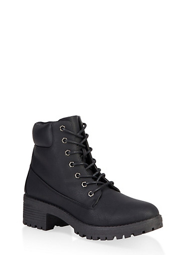 Lace Up Work Boots,BLACK,large