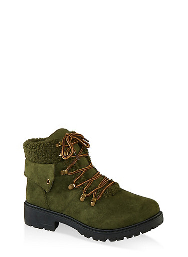 Lace Up Sherpa Cuff Hiking Boots,OLIVE,large
