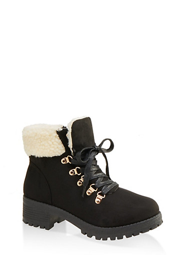 Sherpa Cuff Lug Sole Booties,BLACK,large