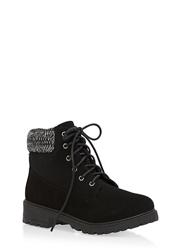 Knit Ankle Lace Up Work Boots,BLACK NUBUCK,large