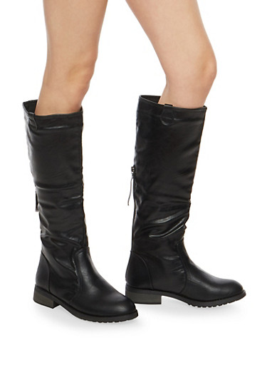 Tall Back Zip Riding Boots,BLACK,large