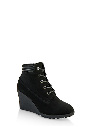 Lace Up Wedge Booties,BLACK,large